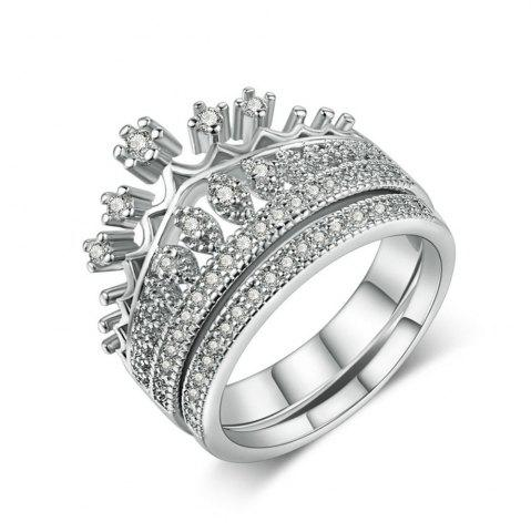 Циркон Micro Inlaid Platinum Crown Double Ring