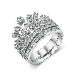 Циркон Micro Inlaid Platinum Crown Double Ring -