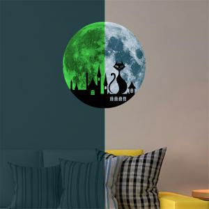 Cat and Castle 30 Cm Luminous Wall Stickers Children Room Decoration -