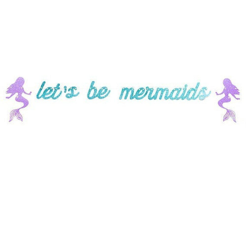 Discount 1PC Shiny Blue Let'S Be Mermaid Banner Baby Birthday Romantic Decoration
