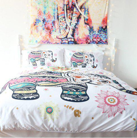 Rainbow Elephant Literie housse de couette Set Digital Print 3pcs