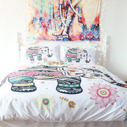Rainbow Elephant Literie housse de couette Set Digital Print 3pcs -