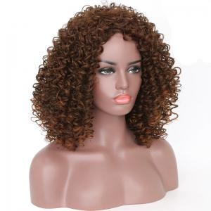 Fashion Brown Highlight Afro Curly Synthetic Short Hair Wig for African American -