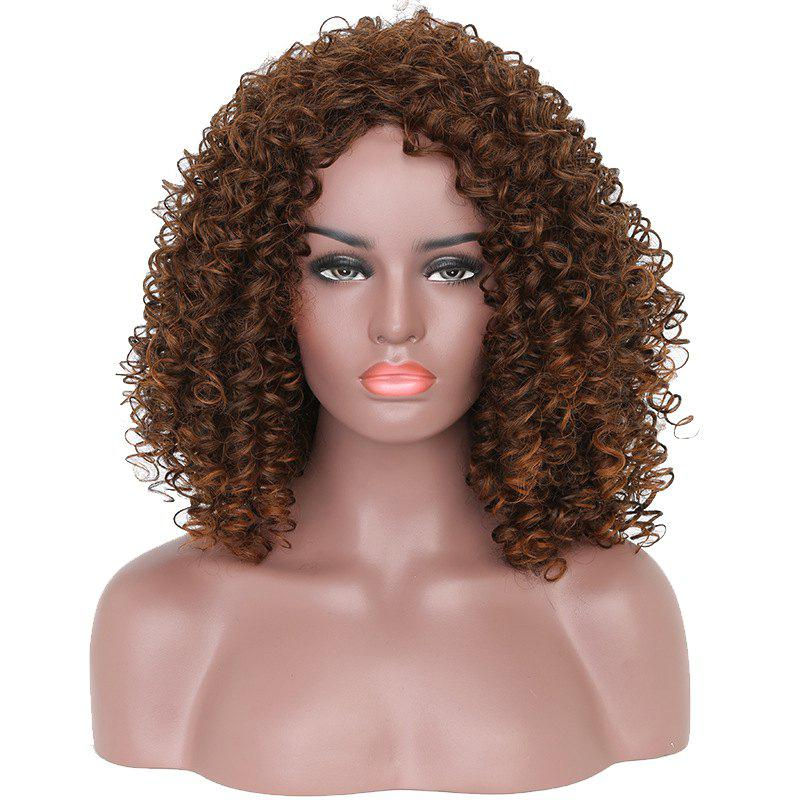 Latest Fashion Brown Highlight Afro Curly Synthetic Short Hair Wig for African American