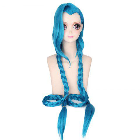 Fancy Girls Blue Super Long Braid Best Synthetic Hair Cosplay Wig Party Costume