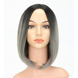 Fashion Natural Straight Bob Cut Ombre Color Synthetic Short Hair Wigs with Skin -