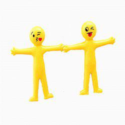 Creative Soft Glue Small Yellow Person Smiling Face Can Stretch Out Toy 2PCS -