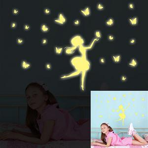 Creative Wall Sticker Fille Papillon Toit Enfants Logement Décoration -