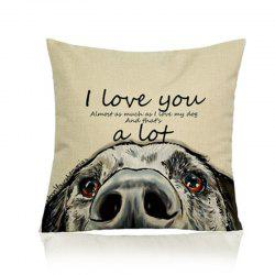 Simple Painted Dog Linen Pillow Case -