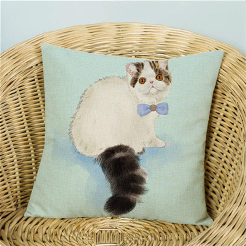 Store Simple and Cute Cat Flax Pillow Cover Home Decoration