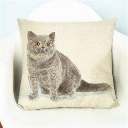 Creative Cute Pet Cat Flax with Pillow Cover Home Decoration -