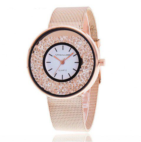 Shop New Fashion Stainless Steel  Band Quartz Watch  Women Rhinestone Casual Watches