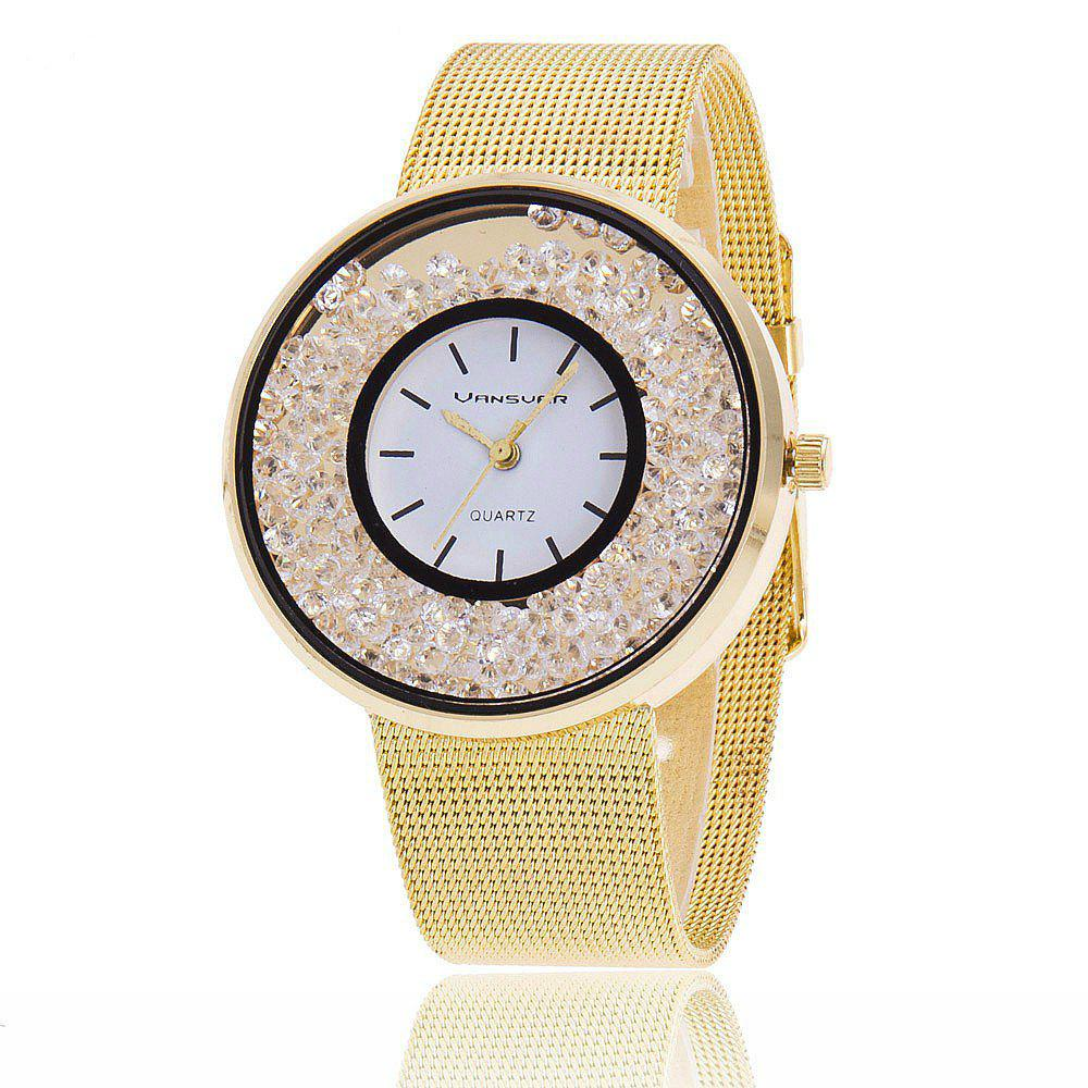 Shops New Fashion Stainless Steel  Band Quartz Watch  Women Rhinestone Casual Watches