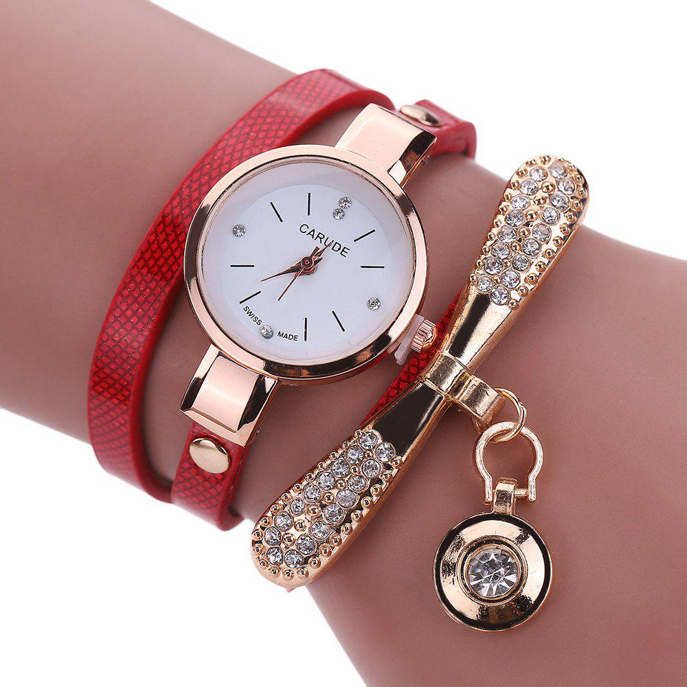 Shops New Lady Fashion Watch Leather Water Drill Quartz Chain Watch