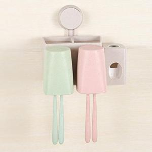 Wheat Toothbrush Rack Sucker Rinse Suit Two Family Home Toothpaste Extruder -