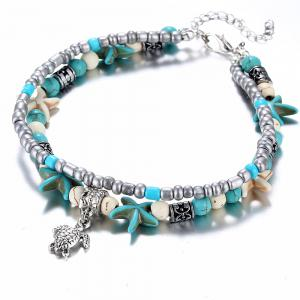 Fashion Double Conch Starfish Yoga Beach Turtle Anklets Chain -