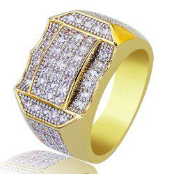 Hip Hop 18K Gold Plated Copper Micro Paved CZ Stone Ring -