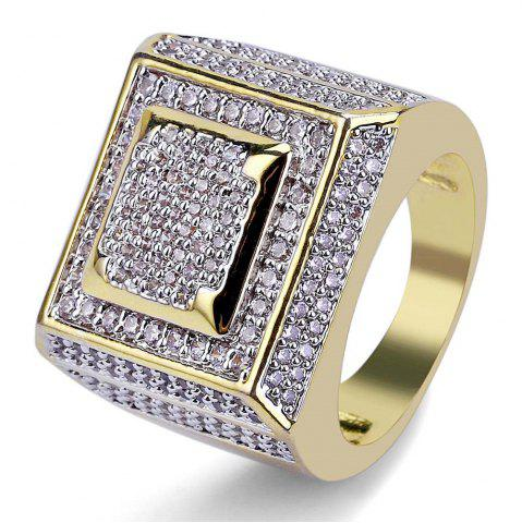 Trendy Hip Hop 18K Gold Plated Micro Paved Square Ring