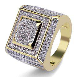 Hip Hop 18K Gold Plated Micro Paved Square Ring -