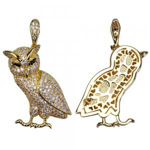 Hip Hop 18K Gold/Silver Plated Micro Paved CZ Stone Owl Pendant Necklace -