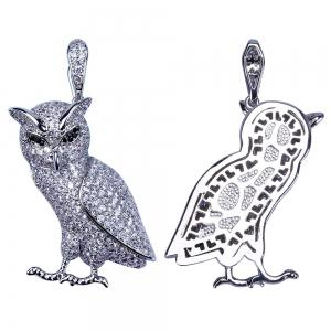Hip Hop 18K Gold / Silver Plated Micro Paved CZ Stone Owl Pendant Necklace -