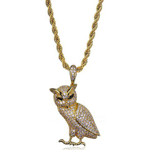 Unique Hip Hop 18K Gold/Silver Plated Micro Paved CZ Stone Owl Pendant Necklace