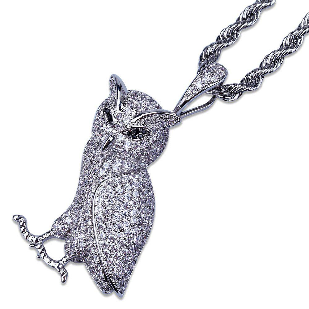 Outfits Hip Hop 18K Gold/Silver Plated Micro Paved CZ Stone Owl Pendant Necklace