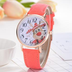 XR2498 Women Arabic Numbers Analog Quartz Wrist Watch with Christmas Elk Dial -
