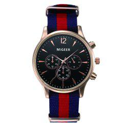 MiGEER Mens Fashion Canvas Analog Quartz Watch -