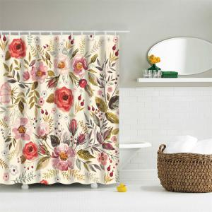 Romantic Flowers Water-Proof Polyester 3D Printing Bathroom Shower Curtain -