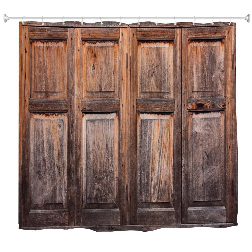 Online Old Wooden Windows Water-Proof Polyester 3D Printing Bathroom Shower Curtain