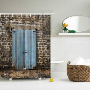 Ancient Wooden Door Water-Proof Polyester 3D Printing Bathroom Shower Curtain -