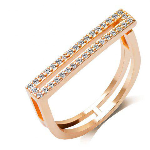 Fancy Micro - Encrusted Artificial Diamond Opening Couple Ring