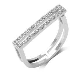 Micro - Encrusted Artificial Diamond Opening Couple Ring -