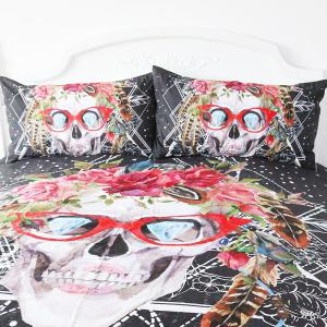 Skull Pattern Bedding  Duvet Cover Set Digital Print 3pcs -