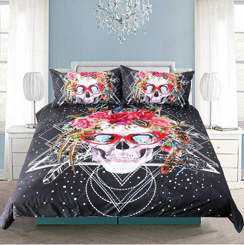 Outfits Skull Pattern Bedding  Duvet Cover Set Digital Print 3pcs