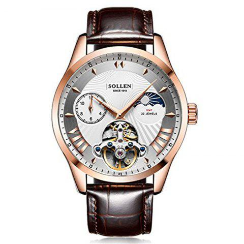 Hot SOLLEN	SL-302  Hollow Engraving Leather Skeleton Mechanical Watches Men Luxury