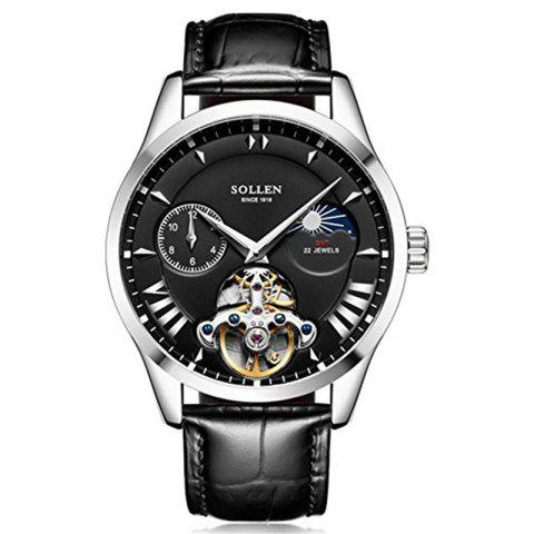 Discount SOLLEN	SL-302  Hollow Engraving Leather Skeleton Mechanical Watches Men Luxury
