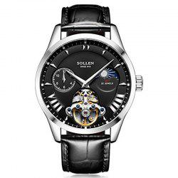 SOLLEN	SL-302  Hollow Engraving Leather Skeleton Mechanical Watches Men Luxury -