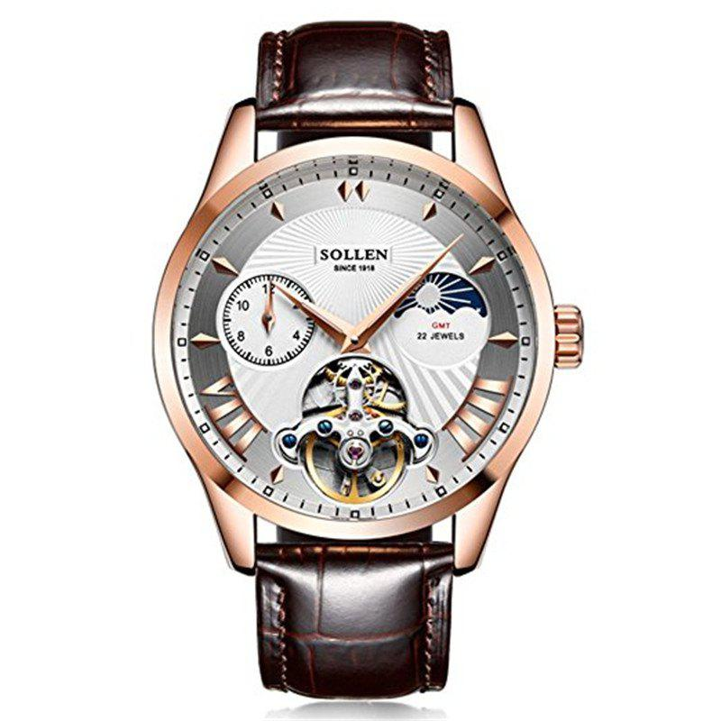 Hot SOLLENSL-302  Hollow Engraving Leather Skeleton Mechanical Watches Men Luxury