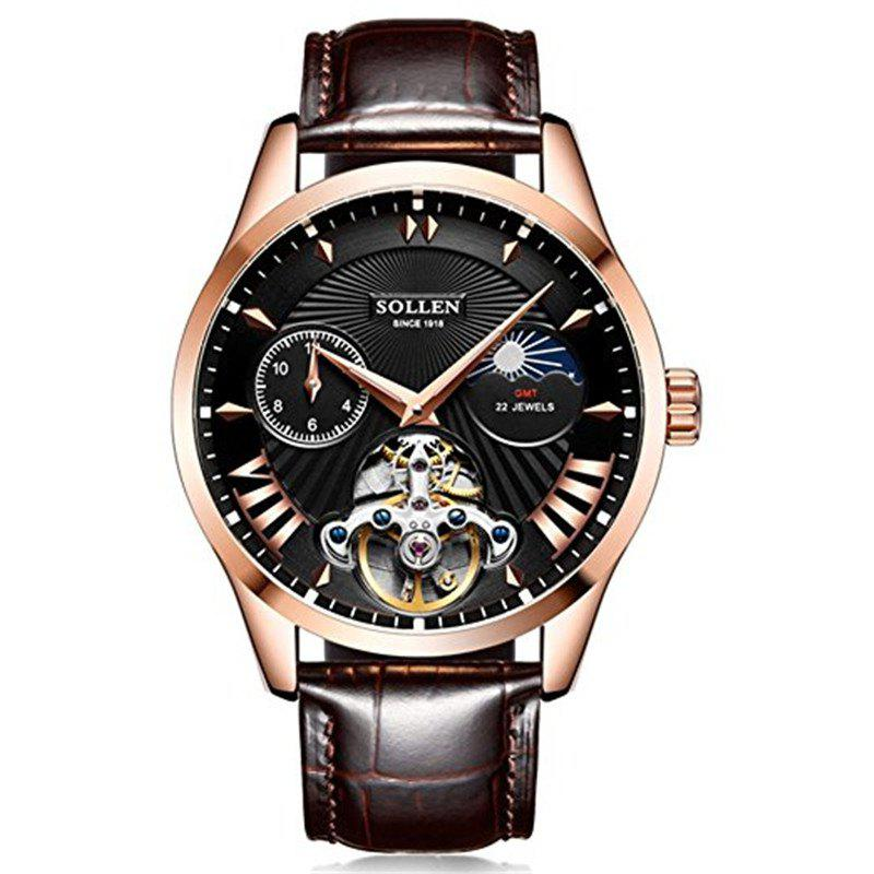 Store SOLLEN	SL-302  Hollow Engraving Leather Skeleton Mechanical Watches Men Luxury