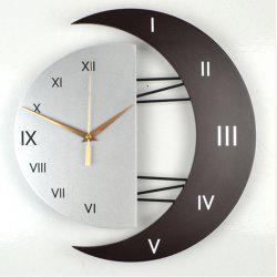 Modern Living Room Decorative Creative Star Moon Style Wooden Board Wall Clock -