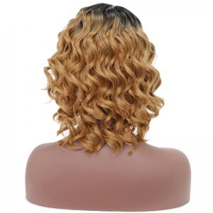Fashion Style Red Short Curly High Temprature Synthetic Hair Wig with Skin -
