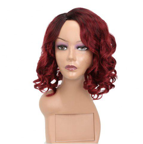 Shop Fashion Style Red Short Curly High Temperature Synthetic Hair Wig with Skin