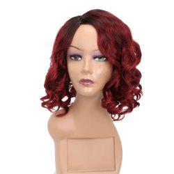 Fashion Style Red Short Curly High Temperature Synthetic Hair Wig with Skin -