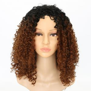 Fashion Brown Ombre Hair Synthetic Afro Curly Long Wigs for American -