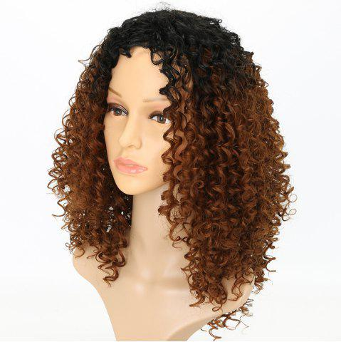 Online Fashion Brown Ombre Hair Synthetic Afro Curly Long Wigs for American