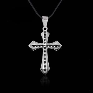 Fashion Personality Diamond Cross Necklace Men Simple Steel Pendant -