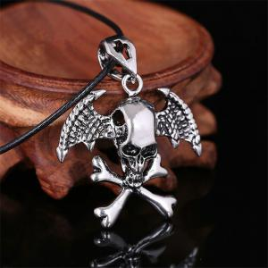 Fashion Personality Wings Cross Necklace Men Simple Steel Titanium Devil Pendant -