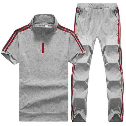 Trendy Men's Sports Suit Short Sleeves T-Shirt Pants Two Pieces Activewear
